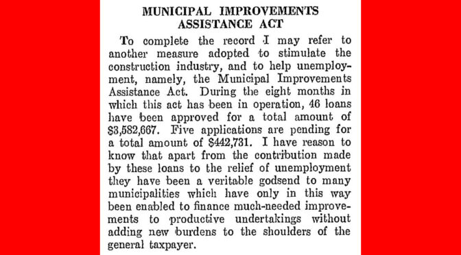 Municipal Improvements Assistance Act 1938, Bill 143